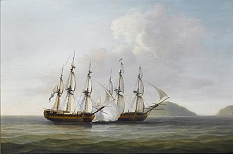 HMS Pearl (1762) - Pearl engages the Santa Monica in the Action of 14 September 1779