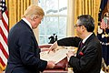 Donald Trump and Shinsuke Sugiyama in the Oval Office 2018-03-28.jpg