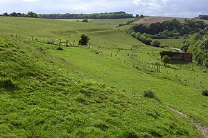 Poundbury Hill - The course of the Roman aqueduct, viewed from the northwest corner of Poundbury hillfort