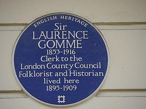 Laurence Gomme - Blue plaque, 24 Dorset Square