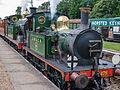 Double headed train arriving at Horstead Keynes (9129607619).jpg