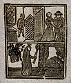 Double picture; a person hanging from the gallows; a witch b Wellcome V0025810.jpg