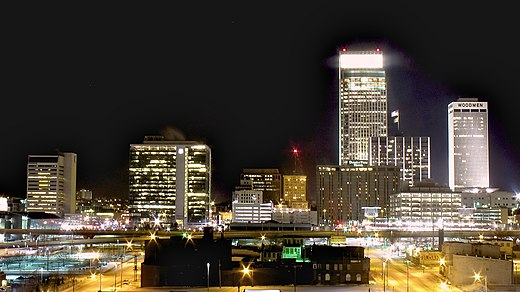 Omaha, Nebraska's largest city Downtown Omaha from the North at Night.jpg