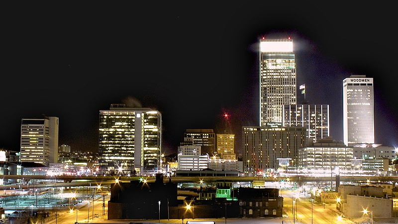 File:Downtown Omaha from the North at Night.jpg