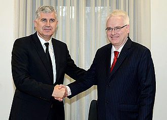 Ivo Josipović - Croat member of the Presidency of Bosnia and Herzegovina Dragan Čović with Ivo Josipović in Mostar in 2014