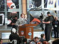 Drew Brees announces the Saints' draft pick at the NFL 2010 Draft.jpg