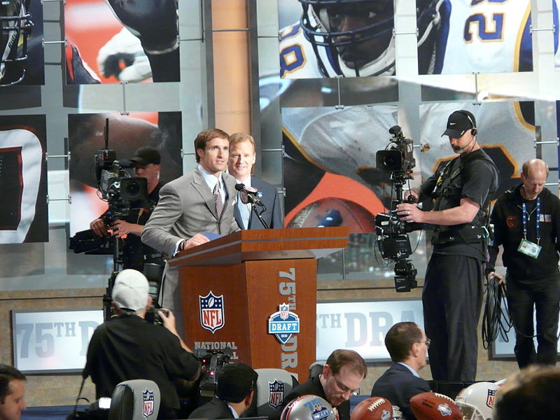 Drew Brees announces the Saints%27 draft pick at the NFL 2010 Draft.jpg