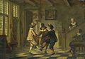 Drie mannen in zeventiende-eeuws kostuum dansend in een voorhuis Rijksmuseum Amsterdam SK-C-278.jpg