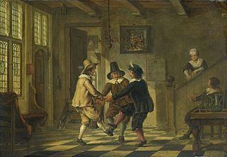 Drie mannen in zeventiende-eeuws kostuum dansend in een voorhuis