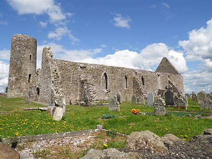 Drumlane Abbey was razed by the O'Rourkes in 1261. Sporadic fighting along the border continued long after the breakup. Drumlane Church and Round Tower.JPG