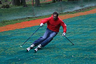 Dry ski slope ski slope that mimics the attributes of snow using materials that are stable at room temperature