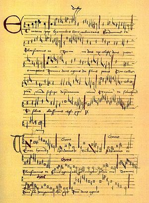 Trent Codices - A Gloria by Guillaume Dufay, from the Trent Codices.  The name of the composer is at the top in the center.