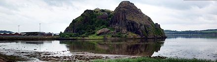 "The fortress of Al Clud occupied Al Clud (""the rock of the Clyde""). The mediaeval citadel that sat atop this geological formation formed the capital of the Kingdom of Al Clud until the late ninth century. Dumbarton Castle, 27 July 2006.jpg"