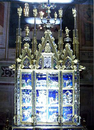 Eucharistic miracle - Eucharistic miracle of Bolsena in a reliquary made by Ugolino di Vieri