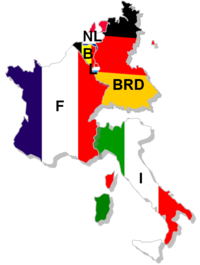 France, West Germany, Italy, Belgium, Luxembourg and the Netherlands form the European Coal and Steel community, the foundation organisation which would become the European Union.