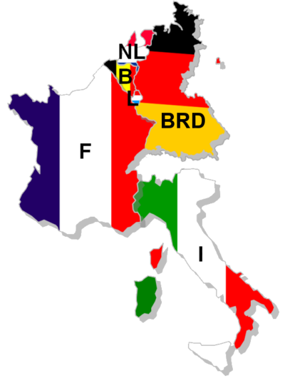 France, West Germany, Italy, Belgium, Luxembourg and the Netherlands form the European Coal and Steel community, the foundation organization which would become the European Union. EGKS.png