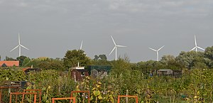 St Osyth - Image: Earls Hall Farm Wind Farm, from St Osyth allotments