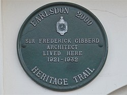 Photo of Frederick Gibberd green plaque