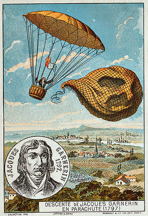 Jeanne Geneviève Labrosse - Garnerin releases the balloon and descends with the help of a parachute, 1797. Illustration from the late 19th century.