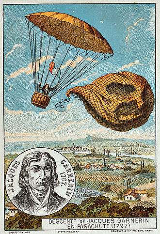 Parachute - The first use of a frameless parachute, by André Garnerin in 1797