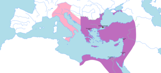 Byzantine Empire under the Leonid dynasty - The territory of the Eastern Roman Empire under the Leonid dynasty in 476-480. The Western Roman Empire, depicted in pink, collapsed in 476/480, though the regions depicted nominally continued to be under Roman rule as vassals of the Eastern Empire.