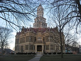 Edgar County Courthouse from southwest at dusk.jpg