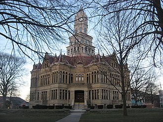 National Register of Historic Places listings in Edgar County, Illinois - Image: Edgar County Courthouse from southwest at dusk