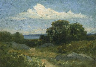 Landscape (trees and rocks by lake)