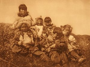 Nunivak Island - Nunivak children, photograph by Edward S. Curtis, 1930