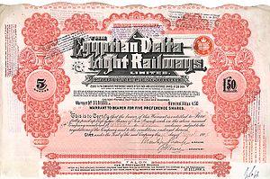 Egyptian Delta Light Railways - Pref. shares of the Egyptian Delta Light Railways from the 12. December 1905