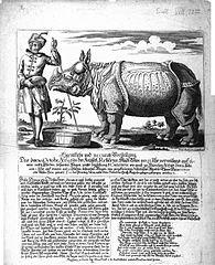 Eigentliche und accurate Vorstellung Des neu angekommenen Asiatischen Wunder-Thiers Rhinoceros