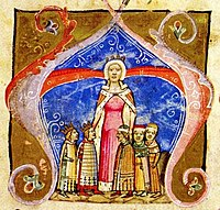 A crowned woman with two crowned children on her right and three children on her left