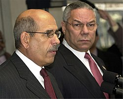 Dr. Mohamed ElBaradei with US Secretary of State Colin Powell on January 10, 2003. [2]