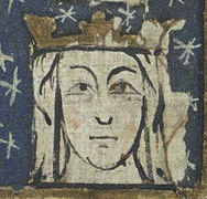 Fourteenth century manuscript initial showing Eleanor of Castile
