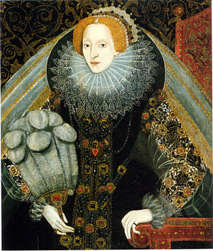 Portraiture of Elizabeth I of England - One of many portraits of its type, with a reversed Darnley face pattern, c. 1585–90, artist unknown