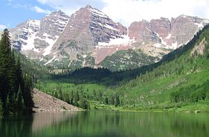 Colorado - The Elk Mountains near Aspen, Colorado showing the Maroon Bells