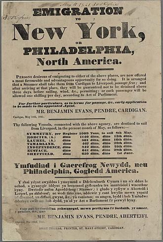 Welsh settlement in the Americas - A bilingual poster advertising passage from Wales to New York or Philadelphia, 1841