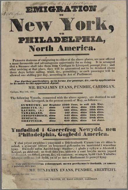 An 1841 poster advertising passage to America, written in English and Welsh Emigration To New York 1841.jpg