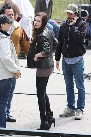 Emily Meade - Meade on the set of the film Twelve in 2009