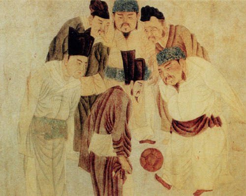 A painting depicting Emperor Taizu of Song playing cuju (i.e. Chinese football) with his prime minister Zhao Pu (Zhao Pu ) and other ministers, by the Yuan dynasty artist Qian Xuan (1235-1305) Emperor Taizu play Cuju.jpg