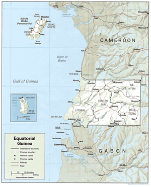 Shaded relief map of Equatorial Guinea