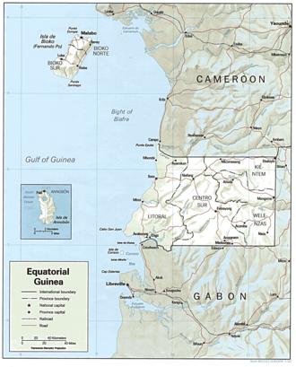 Geography of Equatorial Guinea - Image: Equatorial Guinea Map