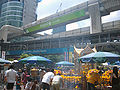 Erawan Shrine, pedestrian walkway & Skytrain tracks.JPG
