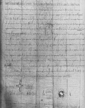 Frauenfeld - Document signed by Arnulf of Carinthia, dated 888 but possibly from the 11th or 12th century, granting the manor farm of Erchingen to Reichenau Abbey
