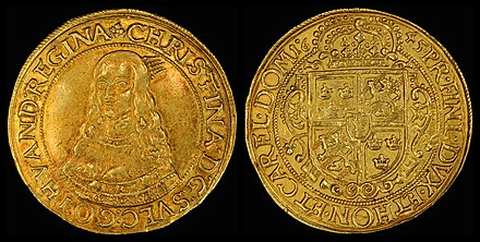 Queen Christina of Sweden depicted on the obverse of a ten-ducat coin from the German state of Erfurt (1645)[note 20]