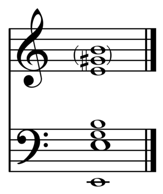 Strike tone - The main partials sounded by the Erfurt bell (1497) or any harmonically-tuned bell in musical notation.  The strike note/prime is E, with hum note, minor third, fifth, octave or nominal, and major third and perfect fifth in the second octave.