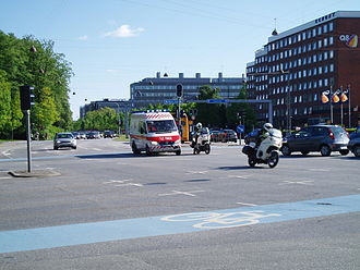 Police of Denmark - Police motorcycles escorting an ambulance