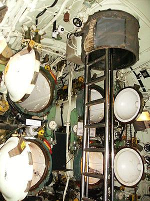 French submarine Espadon (S637) - Torpedo room of Espadon