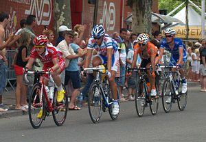 2009 Tour de France, Stage 1 to Stage 11 - Stage 3: Samuel Dumoulin, Koen de Kort, Rubén Pérez and Maxime Bouet in Arles