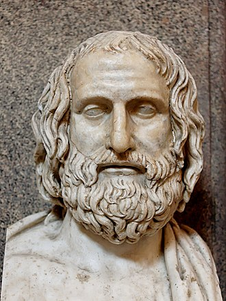 Euripides - Bust of Euripides: Roman marble copy of a 4th-century BC Greek original (Museo Pio-Clementino, Rome)
